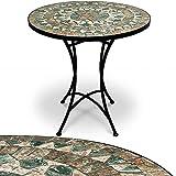 Mosaiktisch Gartentisch Balkontisch Bistrotisch Beistelltisch Kaffeetisch Tisch stabiler, wetterfester Tischgestell handgefertigte Mosaik Tischplatte Ø 60 cm - Modell Malaga - weitere Modellauswahl