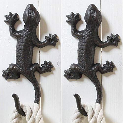 2 x Wandhaken Salamander aus Gusseisen L 18 cm - Garderobenhaken aus Metall im Antik-Look - Haken Vintage aus Eisen - 18 Haken Aus Metall