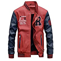 Lavnis Men's Faux Leather Jacket Casual Baseball Stand Collar Slim Fit Coat Red S