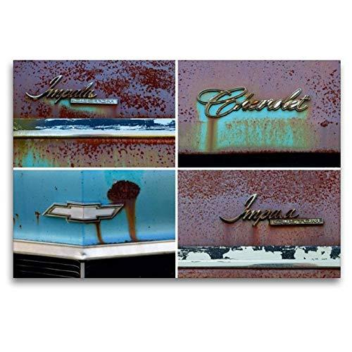 Calvendo Premium Textil-Leinwand 120 cm x 80 cm Quer, Chevrolet Impala Custom, Bj. 1972, Tolland, Massachusetts, USA   Wandbild, Bild auf Keilrahmen. Leinwand, Leinwanddruck Mobilitaet Mobilitaet
