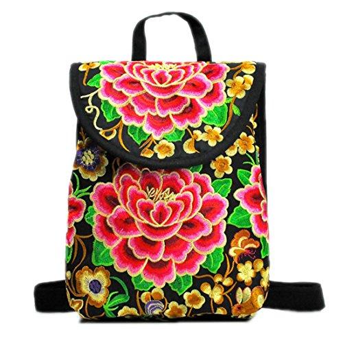 Thailand Stil Frauen Voll Floral Gestickte Leinwand Rucksäcke Teenager Schultaschen Retro Stickerei Reise Rucksäcke Große Kleine Red peony Small21x11x25cm