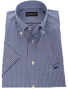 Bots & Bots 178622 Camicia Uomo - Manica Corta - Comfort Stretch - 97% Cotone/3% Lycra - Button Down - Normal...
