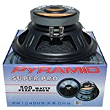 PYRAMID PW1048USX altoparlante diffusore woofer 25,00 cm 250 mm 10' 250 watt rms 500 watt max impedenza 8 ohm casa dj feste disco party magnete 2,600 kg!!! 89,2 db sospensione gomma