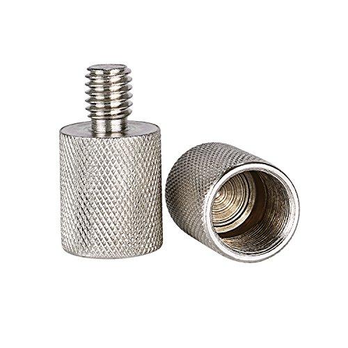 Neewer Nickel Messing haltbar solide 2 Stück 3/8-Zoll-Stecker auf 5/8-Zoll-Schraubgewinde-Adapter für Mikrofonhalterungen und Ständer (Silber) -