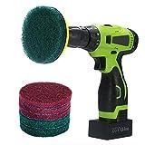 Kichwit, pagliette abrasive per trapano, 10 cm, kit di pulizia, include una chiusura in velcro, 3 spugnette rosse antigraffio e 3 spugnette verdi rigide, strumento resistente di pulizia per la casa