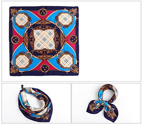 Evedaily - Foulard Écharpe Carré En Soie Imprimé Élégant Mode Silk Square Scarves Pour Femme 53cm*53cm Temps-Bleu