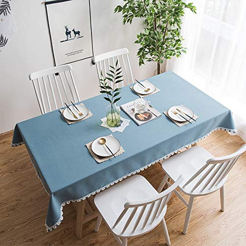 Luckyzc Cotton Linen Tablecloth, Rectangular Simple Plain Waterproof Antifouling Household Dust Table Cloth Tabletop Decorative Tablecloth, Blue, 130x180cm
