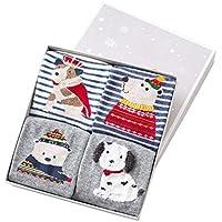 4 Pares Calcetines De Año Nuevo De Navidad,Calcetines Algodón Navidad de Linda caricatura, Calcetines Rayas Niña,Regalos de Navidad para niños