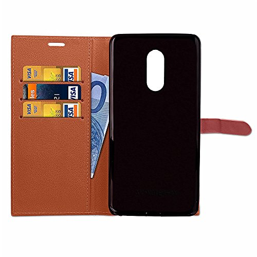 Slim Premium PU Leder Brieftasche Case Horizontale Flip Stand Schutzhülle mit Card Slots und Niet Gürtelschnalle Closure für Xiaomi Hongmi Note 4X ( Color : Wine ) Brown