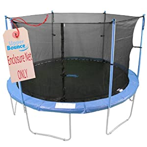Upper Bounce Trampoline Replacement Enclosure Safety Net, Fits For 12 ft Round Frames, with Adjustable Straps, Using 4 Poles or 2 Arches - NET ONLY