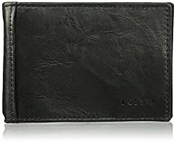 Fossil Men Neel Leather Money Clip Bifold Wallet, black, One Size
