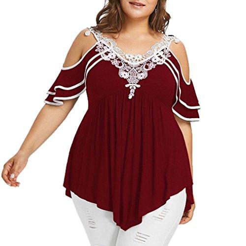 Kobay Mode Damen Übergröße Überlagert Spitze Appliques Trägerlos V-Ausschnitt T-Shirt Tops(X-Large,Wein) (Bruder Applique)