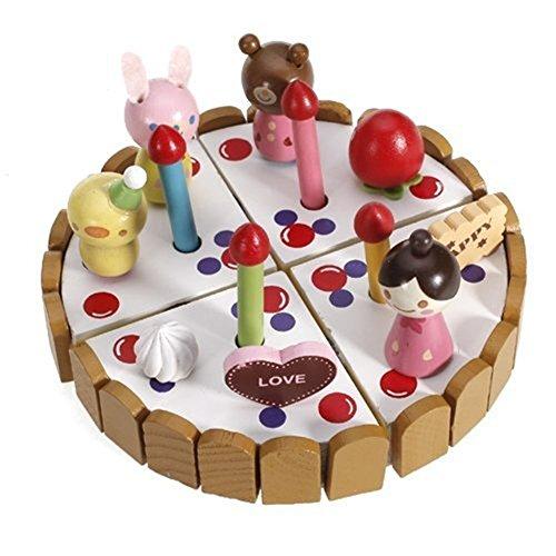 Fengh Cartoon Holz Pretend Play Spielzeug Geburtstagstorte