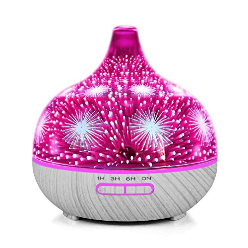 400 Glass Storage (Essential Oil Diffuser - 3D Glass 400ml Galaxy Premium Ultraschall Aromatherapie Oils Humidifier With Amazing LED Lights, Handy Auto Shut -Off Function &)