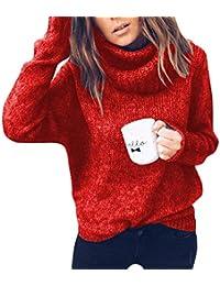 OranDesigne Mujer Jersey de Punto Suelto Cuello de Tortuga Manga Larga  Cálido Prendas de Punto Suéter Jerséis Tops… 40c894901c4b