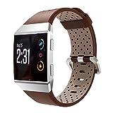 KINGKO Für Fitbit Ionic Perforiertes Leder Zubehör Band Armband Uhrenarmband (Braun)