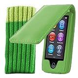 Kolay® iPod Nano 7G Hülle Case Leder Etui Schutzhülle in Grün + Schutzsocke für den neuen Apple iPod Nano 7G (7. Generation 16GB)
