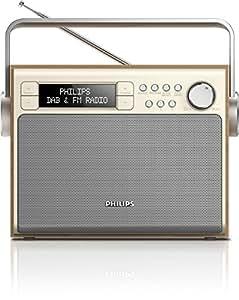 Philips AE5020 Radio FM/DAB+ portable avec enceinte intégrée, recherche rapide, batterie ou piles, Gris et imitation Bois