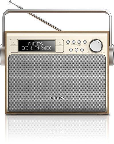 Philips AE5020/12 - Radio portátil, Dab+, sintonizador Digital FM, alimentación por CA o batería, 3 W, Marrón/Metálico