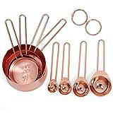 Messbecher-Set aus Kupfer zum Backen, 4er-Set ausKupfer und Edelstahl mit eingravierten Abmessungen und Ausgießern, spiegelpoliert,60ml, 80ml, 125ml, 250ml, edelstahl, rose gold, 4 Cups & 4 Spoons