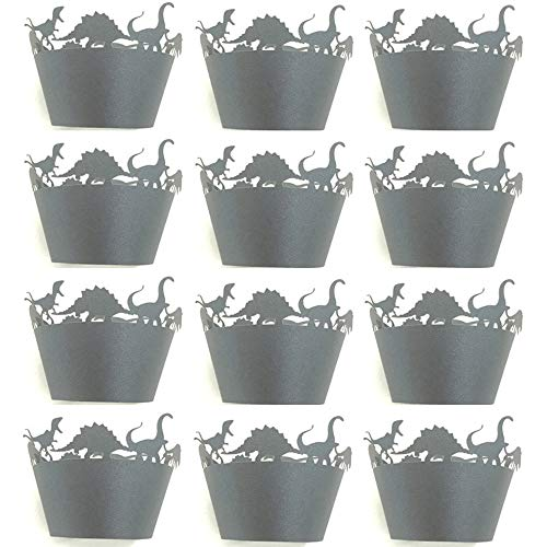 JKXCVXDH 12Pcs Dinosaur Baking Cups - Cute Cartoon Baby Shower Decorations Liner Cupcake Wrapper Paper Cake Cup For Birthday Party Professional 12-cup Muffin Pan