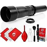 Opteka 650-1300mm High Definition Super Telephoto Zoom Lens For Canon EF Mount Digital SLR Photo Cameras (Black) + Premium 8-Piece Cleaning Kit