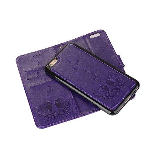 EUWLY Custodia Protecttiva Cover per iPhone 6 Plus/iPhone 6s Plus (5.5) PU Pelle Portafoglio Custodia Caso Goffratura Carino Cute Uccello Grasso e Fiore Pattern Designo Wallet Custodia in Pelle Cover Viola