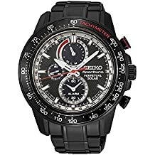 Seiko Sportura SSC373 Reloj solar de iones, 100m, acero Inoxidable, con cronógrafo, color negro