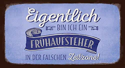 Grafik Werkstatt 60832 VintageArt Eigentlich bin ich Ein Frühaufsteher in Der Falschen Zeitzone ! cardboard, Pappe, Uni, 22 x 12 x cm