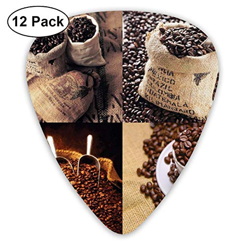 Guitar Picks 12-Pack,Rustic Collage Of Images Showing Different Kinds Of Roasted Grains Grain Full Metal