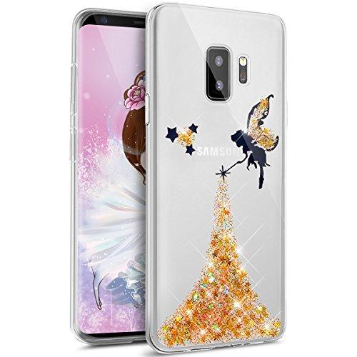 sefu Bling Glitzer Diamant Sparkle Luxus Angel Girl Glitter Muster glänzend Weich TPU Silikon Gummi Bumper Schutzhülle für Samsung Galaxy S9 gelb ()