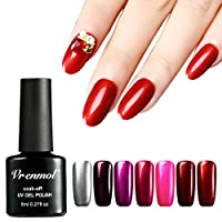 Vrenmol 7pcs Titanium Red Gel Nail Polish and Silver Base Gel Soak off UV LED Nail Lacquer Nail Art Manicure 8ml/0.27fl.oz