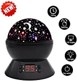 Timer Night Light BS UK Plug, MKQPOWER Star projector Rotating Moon Stars Projection LED Night Lamp Toys Children Bedroom Lamp,Baby Shower Gift(Black)