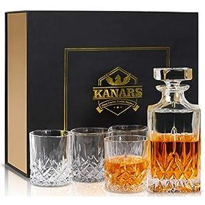 KANARS 5-teiliges Whiskey Karaffe Set, 750ml Whisky Dekanter mit 4x 300ml Gläser, Bleifrei Kristallgläser, Schöne Geschenk Box, Hochwertig