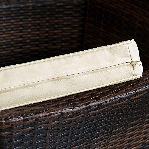 Deuba® Poly Rattan Sitzgruppe 8+1 Braun | 8 stapelbare Stühle | 7cm dicke Sitzauflagen Creme | wetterfestes Polyrattan [ Modell- & Farbauswahl 4+1 / 6+1 / 8+1 ] - Gartenmöbel Gartenset Lounge Sitzgarnitur Essgruppe Set - 5