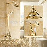 Placcatura retro soffione beauty placcato oro bagno rubinetto doccia con asta saliscendi rubinetto, giallo