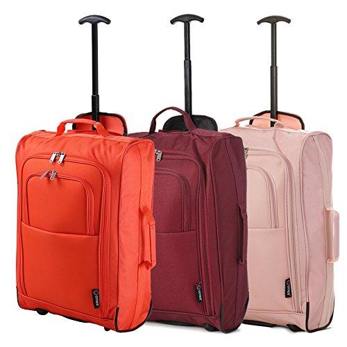 Lot de 3 Super Léger de Voyage Bagages Cabine Valise Sac à Roulettes (Orange + Du Vin + Or Rose)