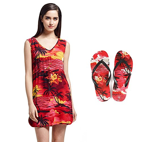 Dame passt Hawaiian Luau Outfit Aloha Tunikakleid und Flip Flops im Sonnenuntergang rot Tunika-Kleid L Sandalen 6 (Hawaii-shirt Sonnenuntergang)