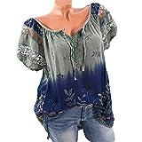 Quceyu Damen Blumen Spitze Tops Oversize Bluse Shirt Kurzarm V-Ausschnitt Oberteile Lose T Shirt (Armee-grün, X-Large)