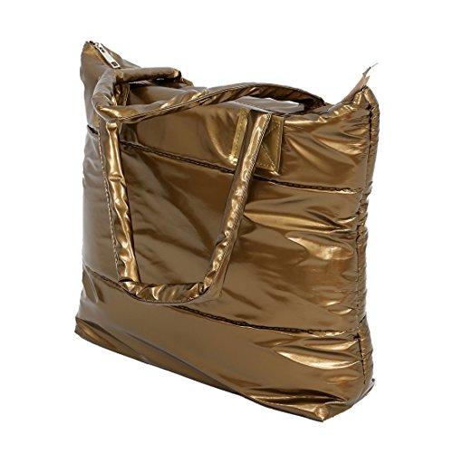 SODIAL(R) Caldo di vendita Prodotti semplice alla moda Pure spalle Colore Cotton Stripe Inverno della borsa-rosso golden
