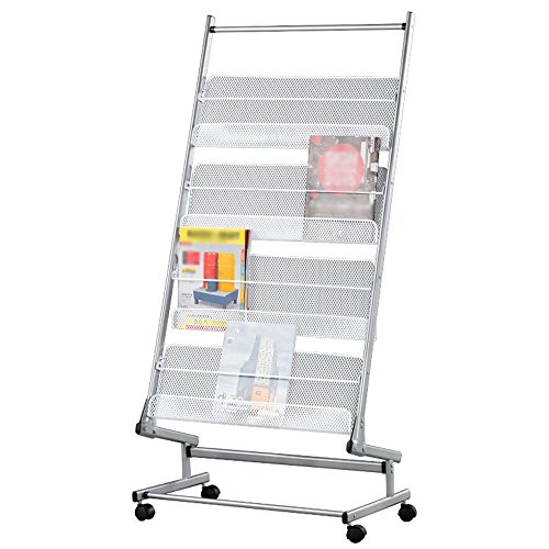 Porte-magazines et porte-journaux Bookstand Landing Show Office Magazine Étagères Simple Iron Newspaper Stand Files Rack Silver White ( taille : # 2 )
