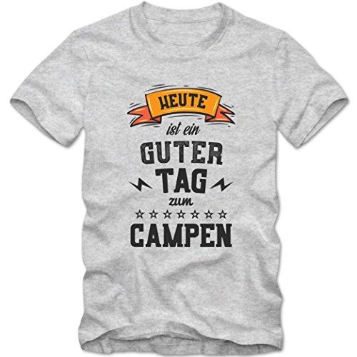 Heute ist ein guter Tag zum Campen Premium T-Shirt   HobbyShirt   Zelten   Natur   Herren   Shirt © Shirt Happenz Graumeliert (Grey Melange L190)