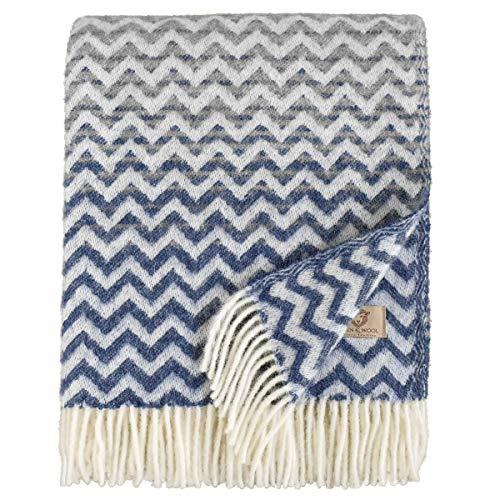 Linen & Cotton Warme Decke Wolldecke Bunt Wohndecke Kuscheldecke Aurora - 100% Reine Neuseeland Wolle, Marine Blau/Grau (130 x 170cm) Sofadecke/Überwurf/Plaid Couch Sofa/Schurwolle Blanket (Kuscheldecke Blau-grau)