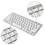 KVAGO Ultra-dünn Deutsche Tastatur Bluetooth 3.0 Wireless Qwertz Kabellose Keyboard für IPad, iPhone, Samsung Galaxy Tab, Galaxy Note, Smartphones. Kompatibel mit allen iOS, Android, Mac, und Windows Geräten