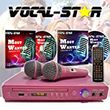 Pink Vocal-Star VS-400 CDG DVD Karaoke Machine With 2 Microphones & Party Songs