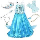 Anbelarui® Mädchen Prinzessin Kleid Weihnachten Verkleidung Karneval Party Halloween Fest Kostüm Set aus Diadem,Handschuhe, Zauberstab, Halskette (110-116 (Etikett:120), Blau #02)