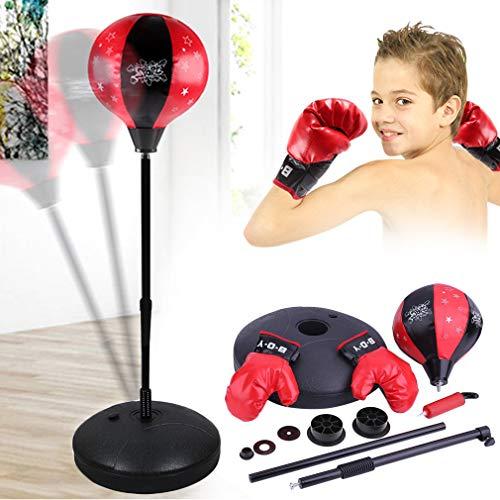 Krispich Punchingball Set für Kinder, Höhenverstellbar Punching Training Standbox Boxen, Boxsack-Set mit Boxhandschuhen & Pumpe (B)