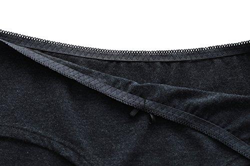 Attraco Damen Slips Baumwolle Bikinislips Streifen Details 4 Pack Schwarz/Weiß/Grau/Grau