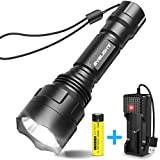 BYBLIGHT LED Torch Super Bright, Rechargeable Tactical Flashlight with USB Charger, 900 Lumens CREE LED Waterproof Torch with 5 Light Modes for Indoors and Outdoors Use, 18650 Battery Included