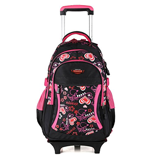 ZIRANYU Wasserdichte Nylonschulrucksack mit 2 Rädern Gepäcktaschen Schultertaschen für Junge Kinder Mädchen Nylon mit Mehrere Ablagefächer Kinderrucksack mit Rädern (Schwarz)